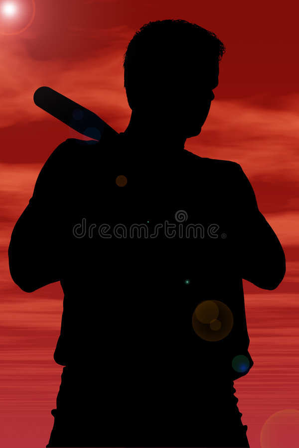 Silhouette With Clipping Path of Man With Baseball Bat vector illustration