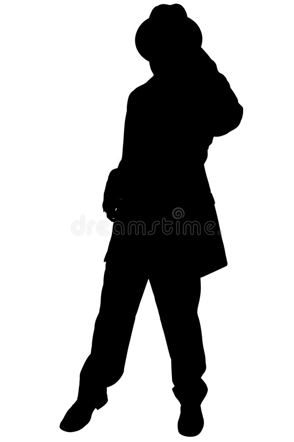 Silhouette With Clipping Path of Man in Business Suit and Hat stock illustration