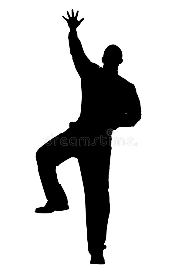 Silhouette With Clipping Path of Man Climbing stock illustration