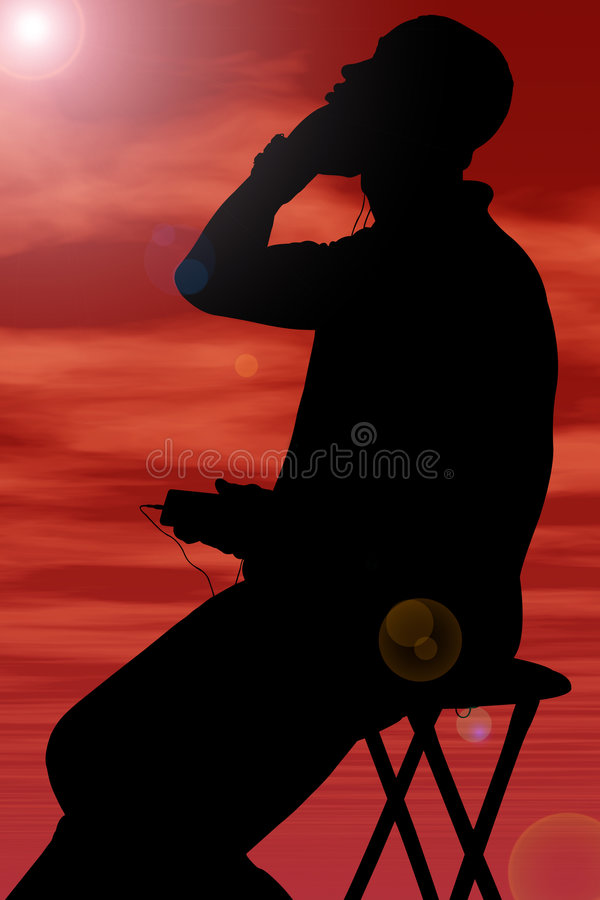 Silhouette With Clipping Path Of Man Listening To Headphones Aga Royalty Free Stock Images
