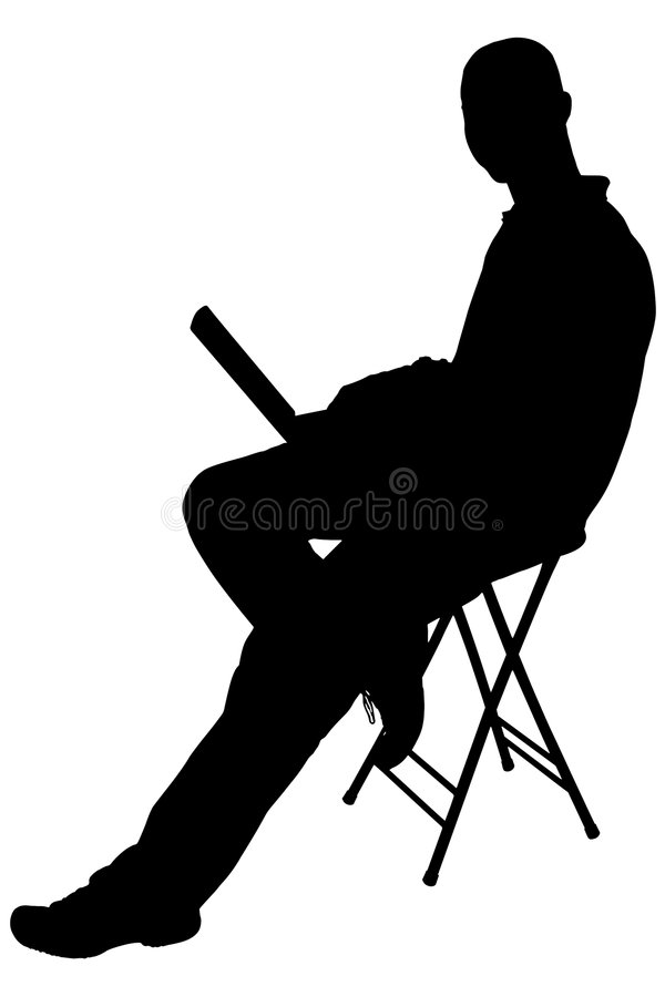 Silhouette With Clipping Path of Man Sitting With Laptop