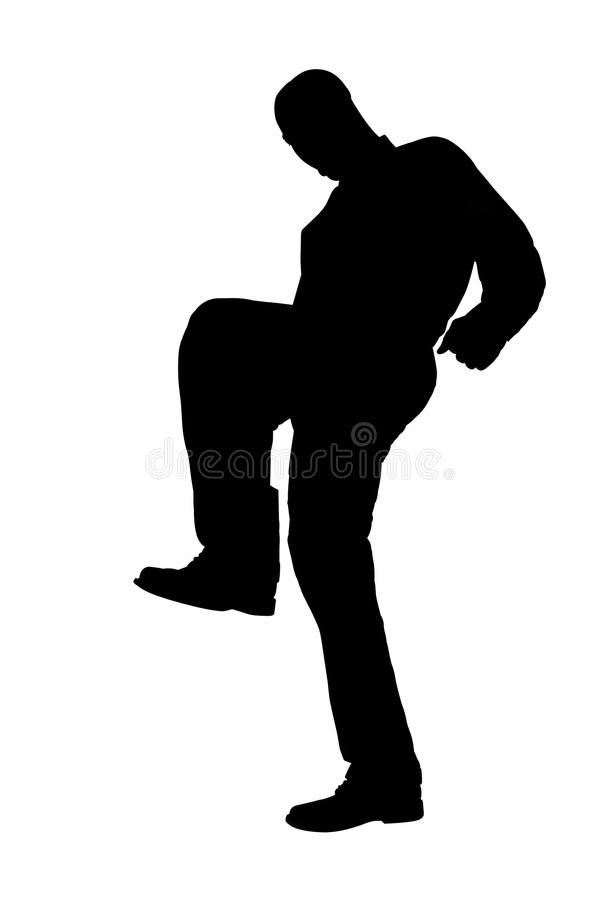 Silhouette With Clipping Path of Man Stomping royalty free stock photo