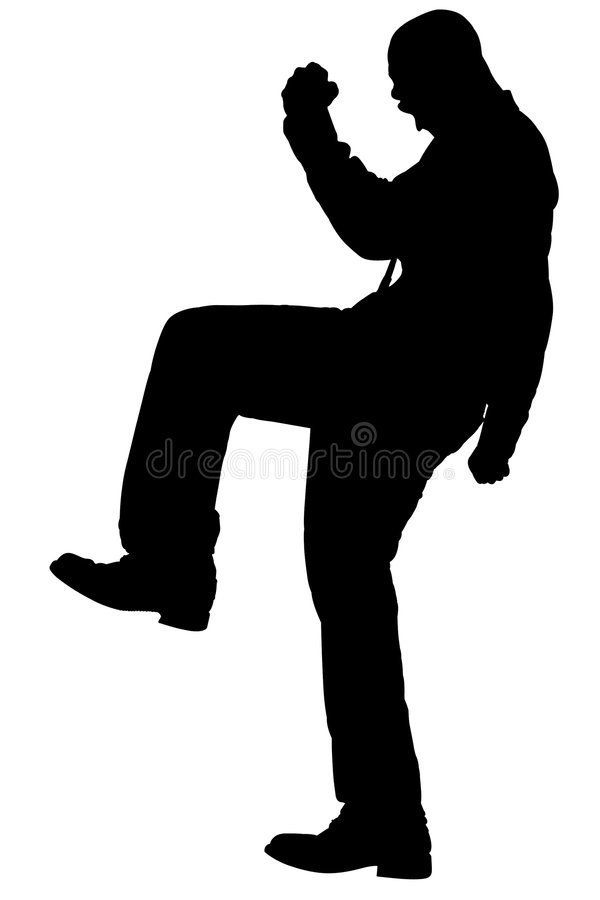 Silhouette With Clipping Path of Man Stomping vector illustration