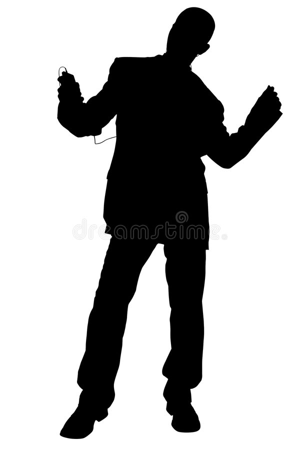 Silhouette With Clipping Path of Man in Suit Dancing Wearing Headphones royalty free illustration