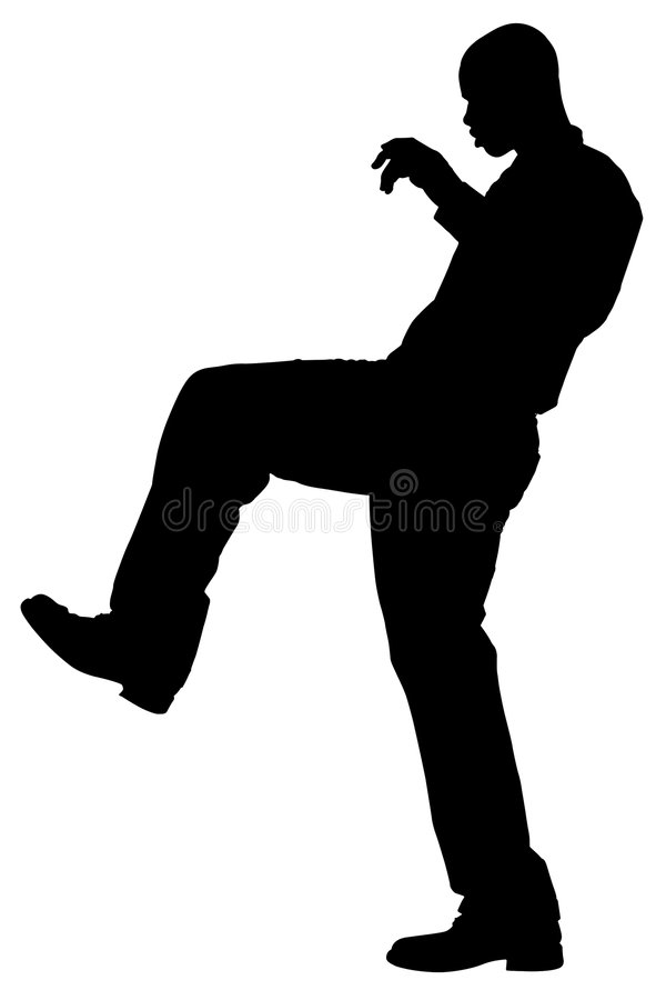 Silhouette With Clipping Path of Man Taking Step stock images