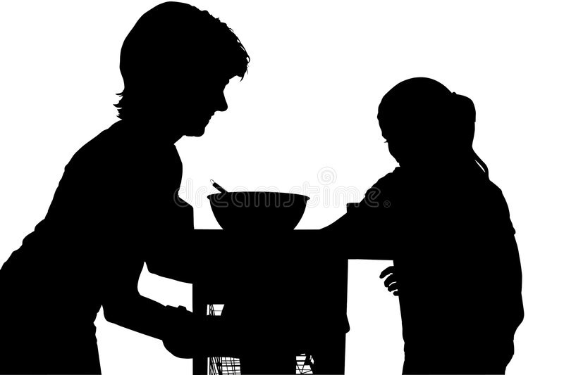 Silhouette With Clipping Path of Mother and Child royalty free illustration