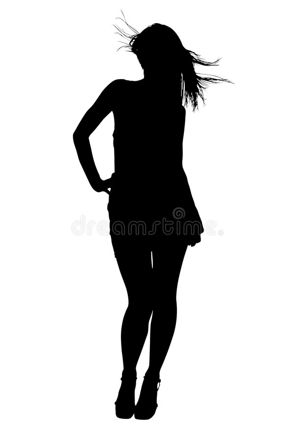 Silhouette With Clipping Path of Female Model stock illustration