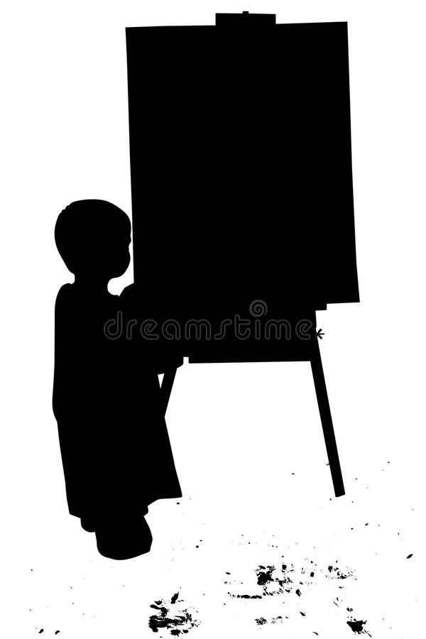 Silhouette With Clipping Path of Small Boy Painting at Easel stock illustration