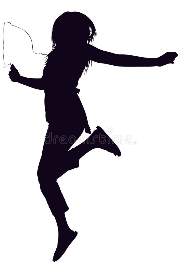 Silhouette With Clipping Path of Teen Jumping royalty free stock photos