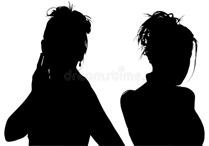 Silhouette With Clipping Path of Two Women royalty free stock photo