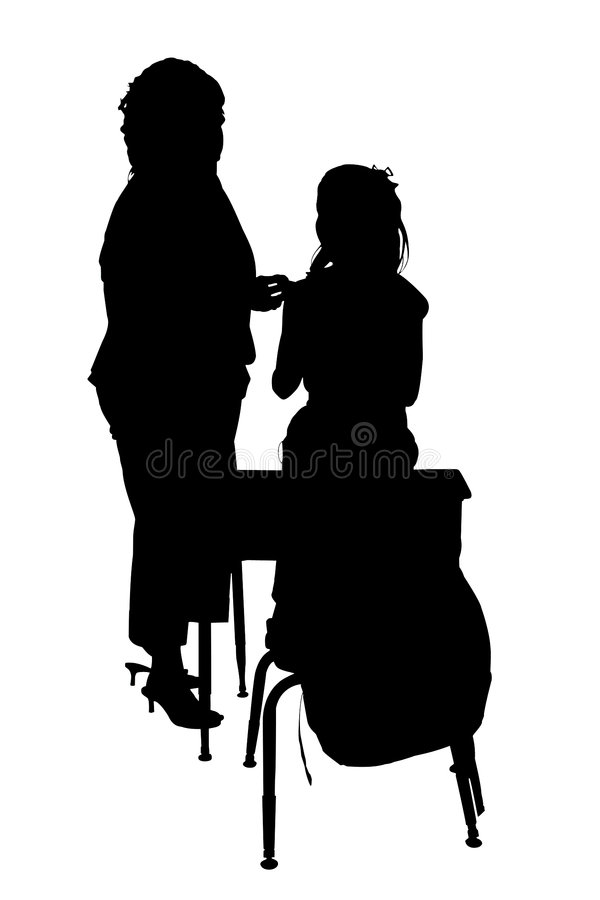 Silhouette With Clipping Path of Woman and Child stock images