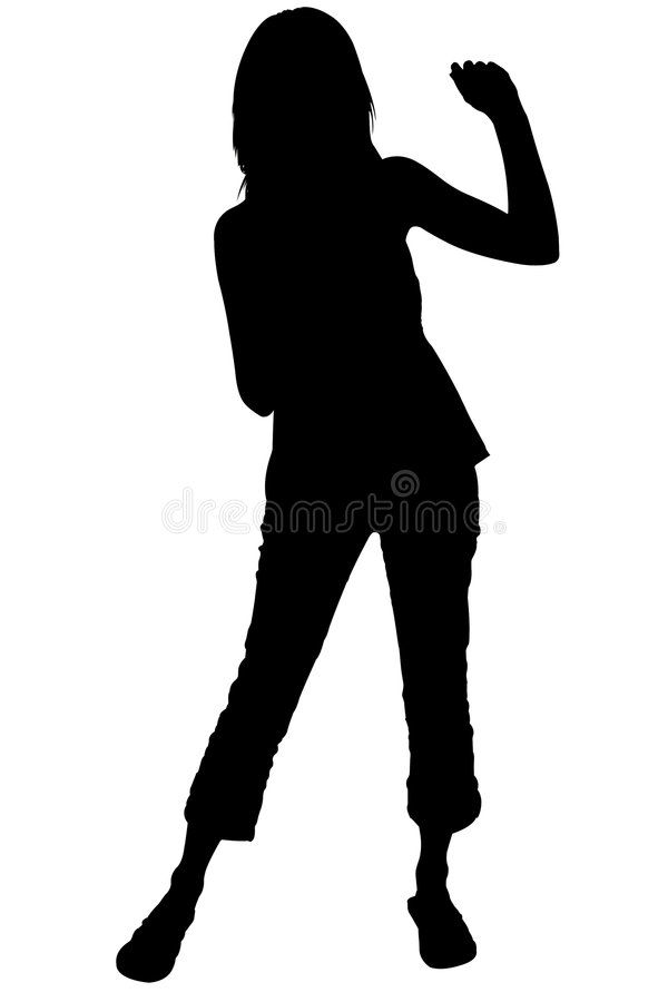 Silhouette With Clipping Path of Woman Dancing stock image