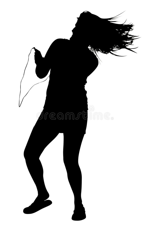 Silhouette With Clipping Path of Woman Dancing stock images