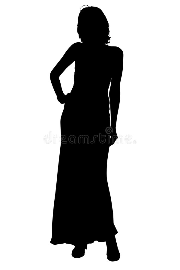 Silhouette With Clipping Path Woman in Formal Gown vector illustration