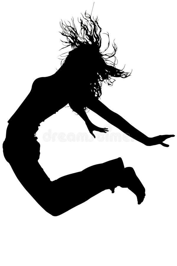 Silhouette With Clipping Path of Woman Jumping royalty free stock photo