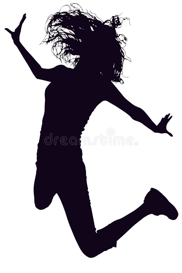 Silhouette With Clipping Path of Woman Jumping royalty free stock images