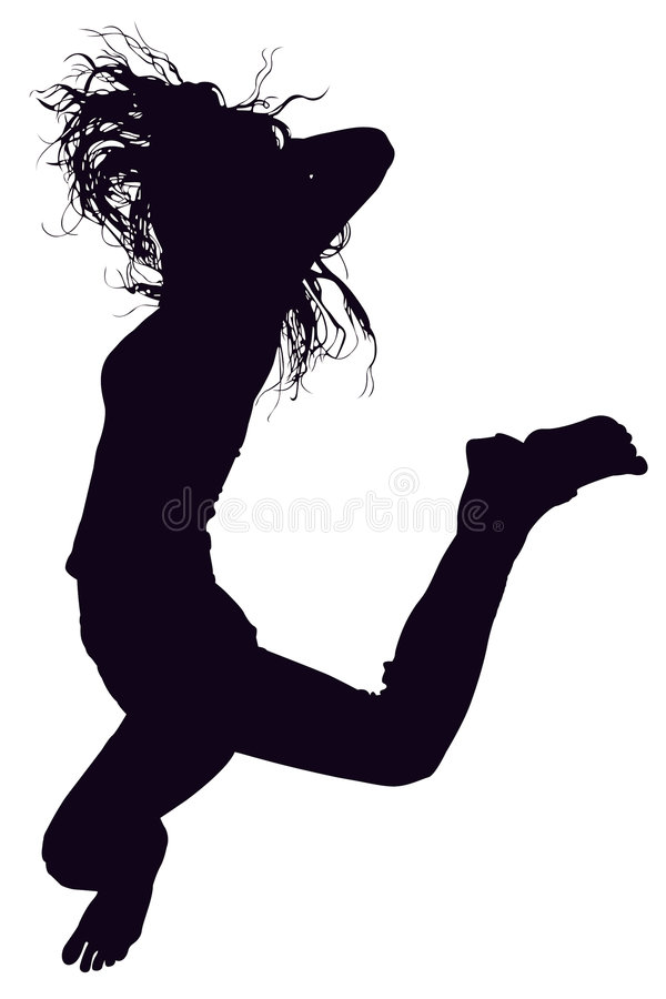 Download Silhouette With Clipping Path Of Woman Jumping. Stock Photo - Image: 757712