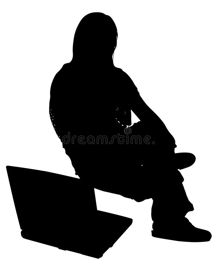Download Silhouette With Clipping Path Of Woman With Laptop Stock Image - Image: 729483