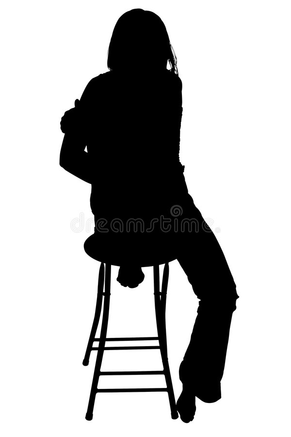 Silhouette With Clipping Path of Woman Sitting on Stool.