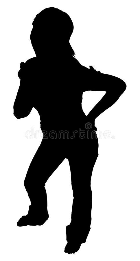 Silhouette With Clipping Path of Woman Standing stock photography