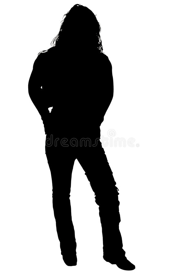 Silhouette With Clipping Path of Woman Standing stock illustration