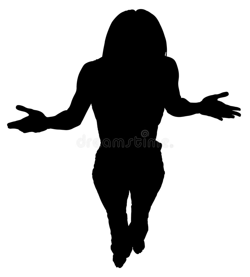 Download Silhouette With Clipping Path Of Woman Standing With Hands Out Stock Photo - Image of black, girl: 550598