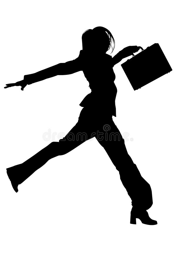 Silhouette With Clipping Path of Woman in Suit with Briefcase Jumping stock photos
