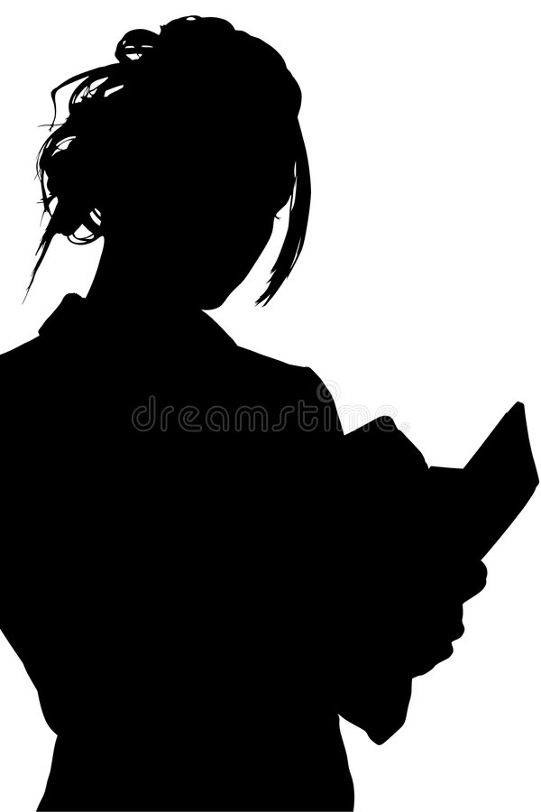 Silhouette With Clipping Path of Woman Writing in Book royalty free illustration