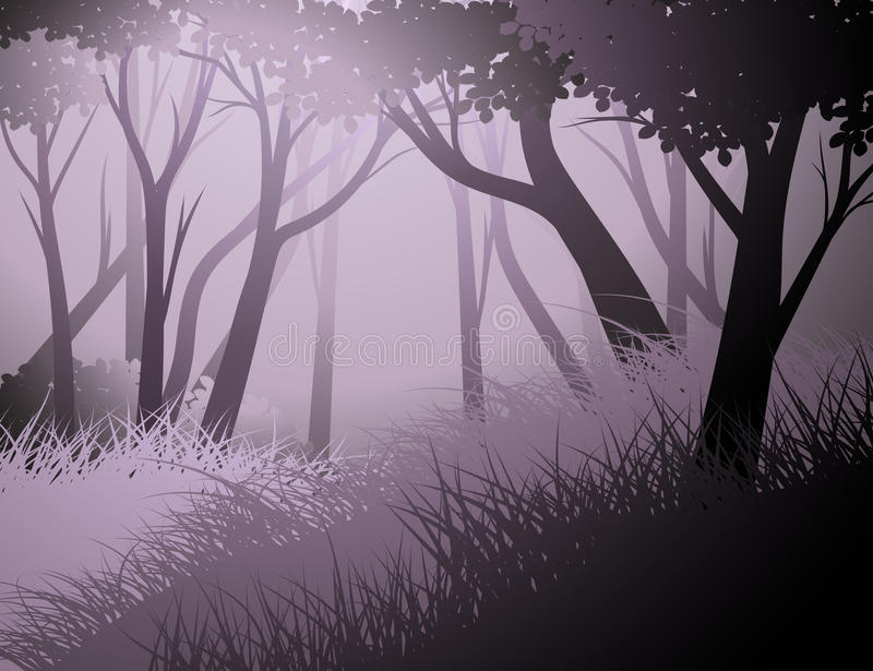 Silhouette cloud forest nature landscape background royalty free illustration
