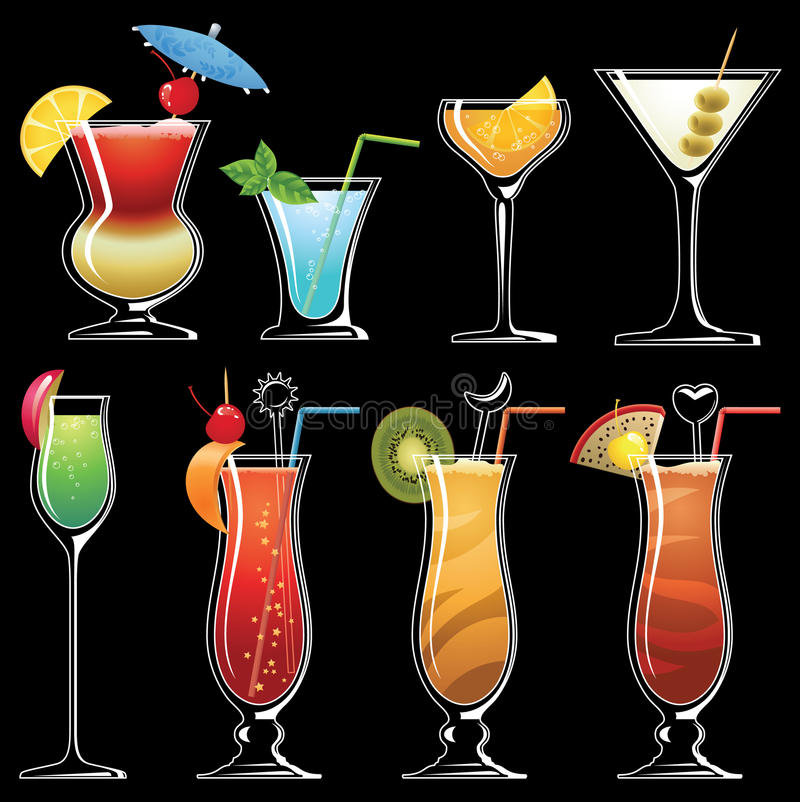 Download Silhouette of coctails stock vector. Image of icon, liqueur - 19082568