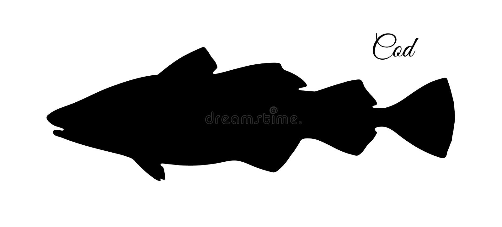 Silhouette of cod fish. Hand drawn vector illustration isolated on white background royalty free illustration