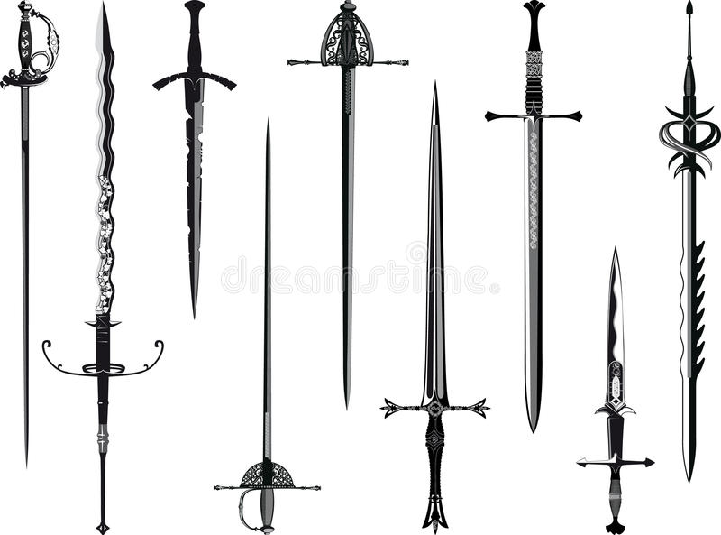 Silhouette collection of swords royalty free stock photo