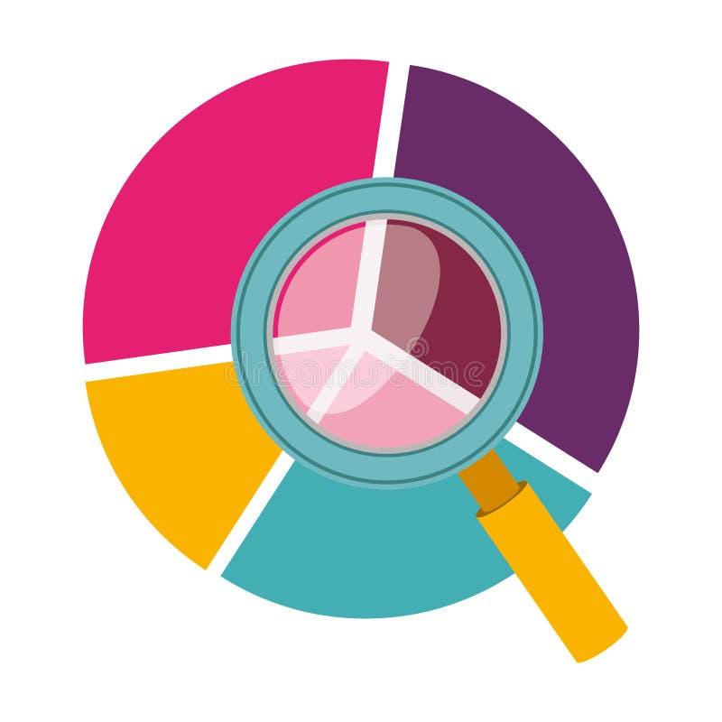 silhouette colorée avec le graphique circulaire et la loupe illustration de vecteur