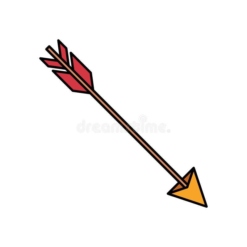Silhouette colorée de chasser la flèche illustration libre de droits