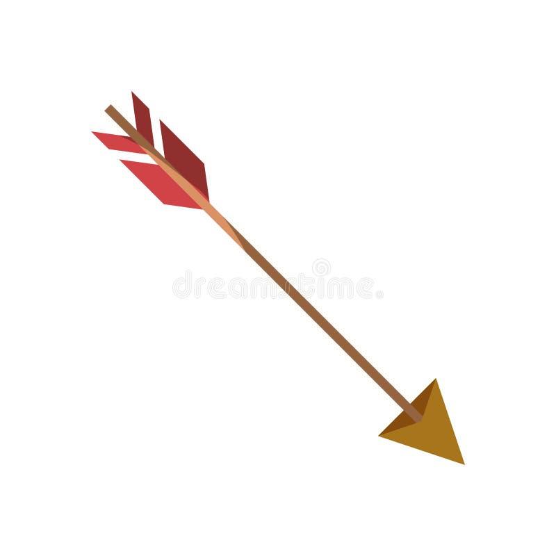 Silhouette colorée de chasser la flèche sans découpe et ombrage illustration stock
