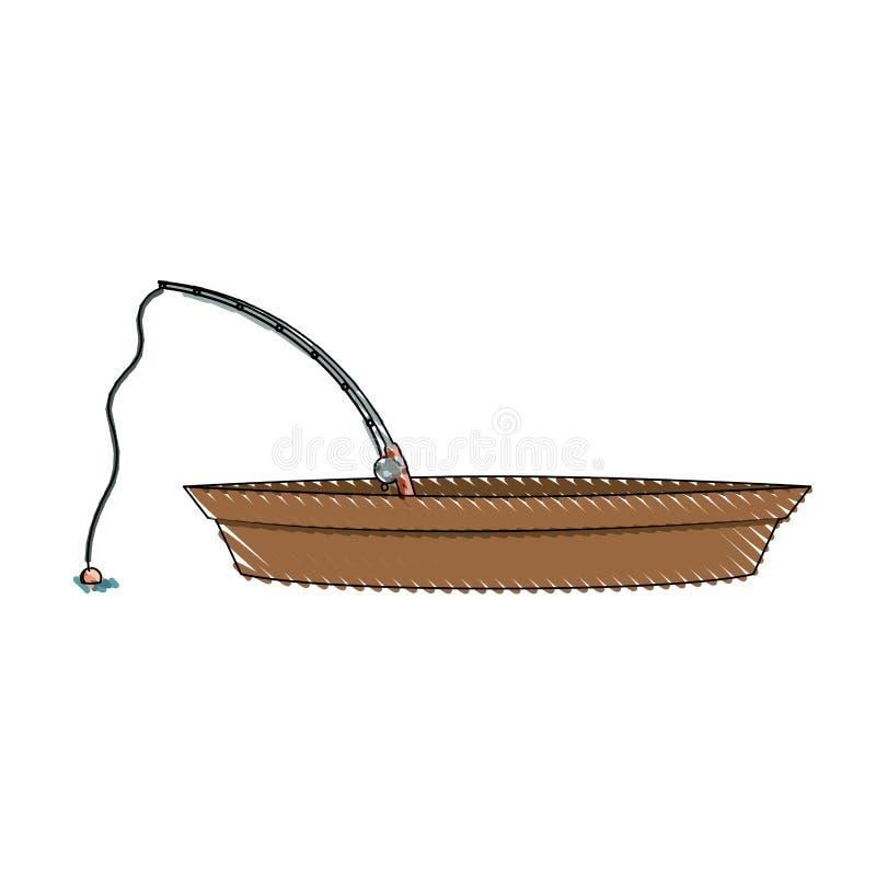 Silhouette colorée de crayon de bateau et de tige de pêche en bois illustration libre de droits