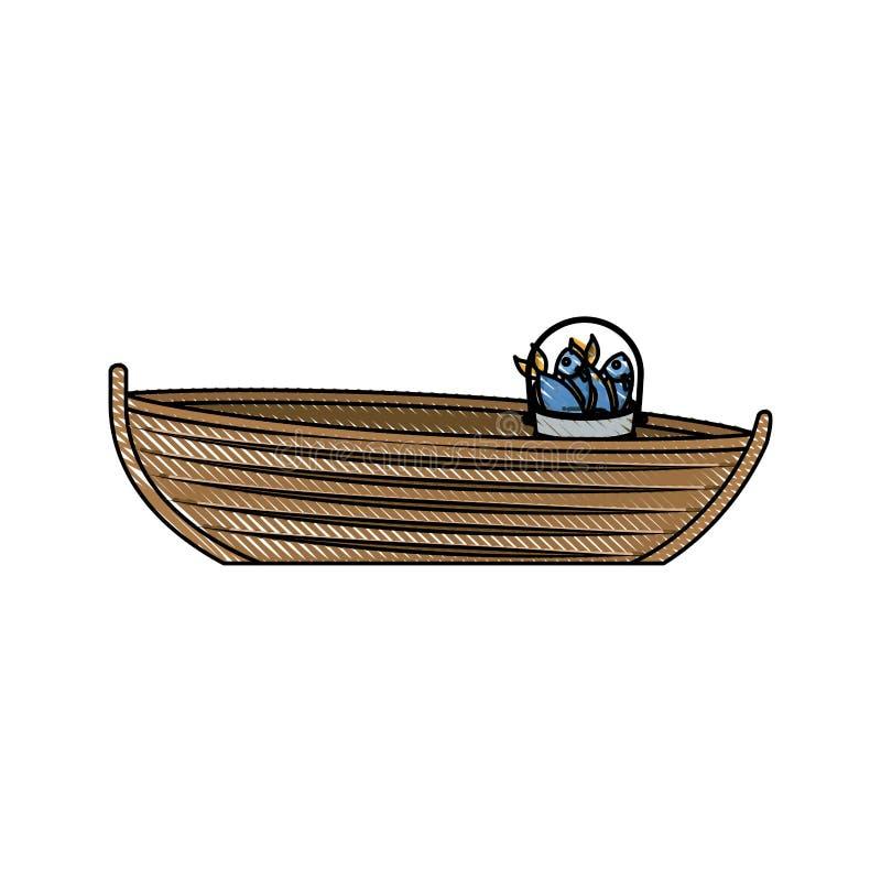 Silhouette colorée de crayon de bateau de pêche en bois avec le seau complètement de poissons illustration libre de droits