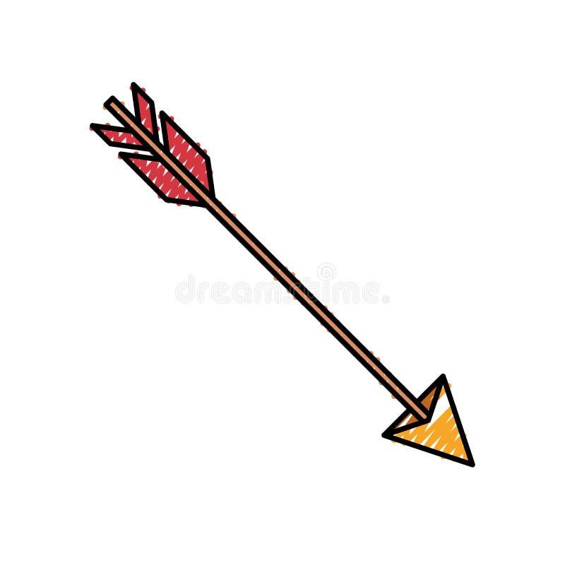 Silhouette colorée de crayon de chasser la flèche illustration libre de droits