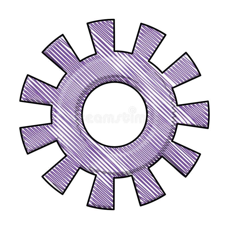 Silhouette colorée de crayon du model un de pignon illustration stock