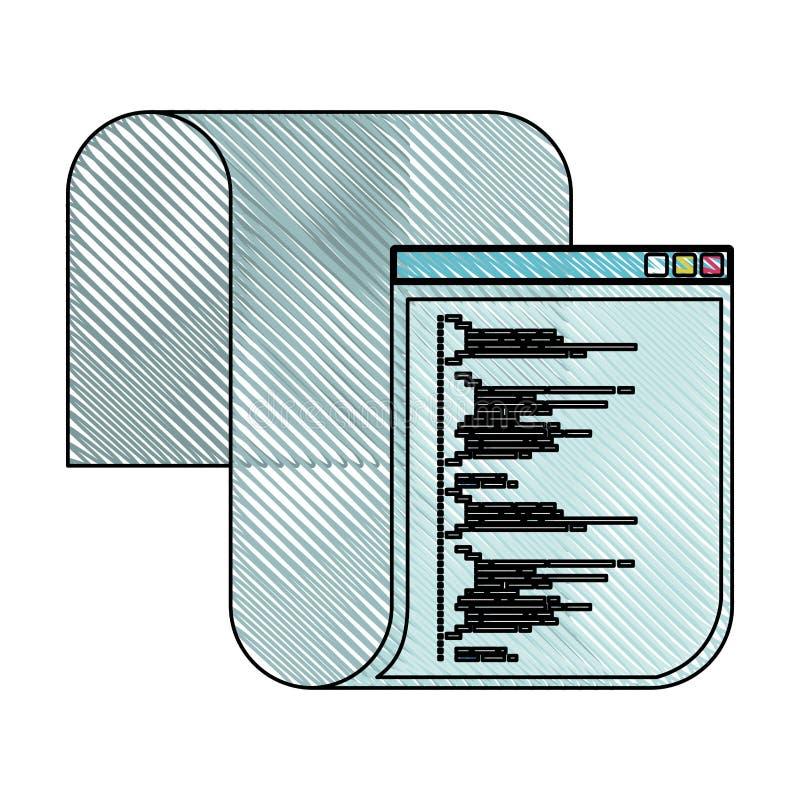 Silhouette colorée de crayon de fenêtre de programmation avec le long code de manuscrit illustration libre de droits