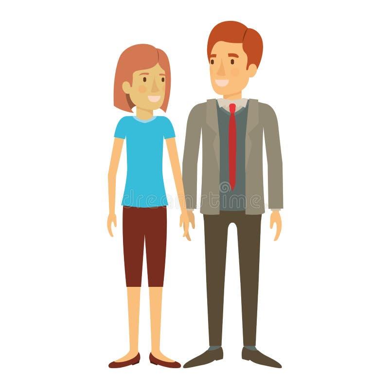 Silhouette colorée de la position de l'homme et de femme et elle avec les cheveux courts et lui dans le costume formel avec le li illustration stock