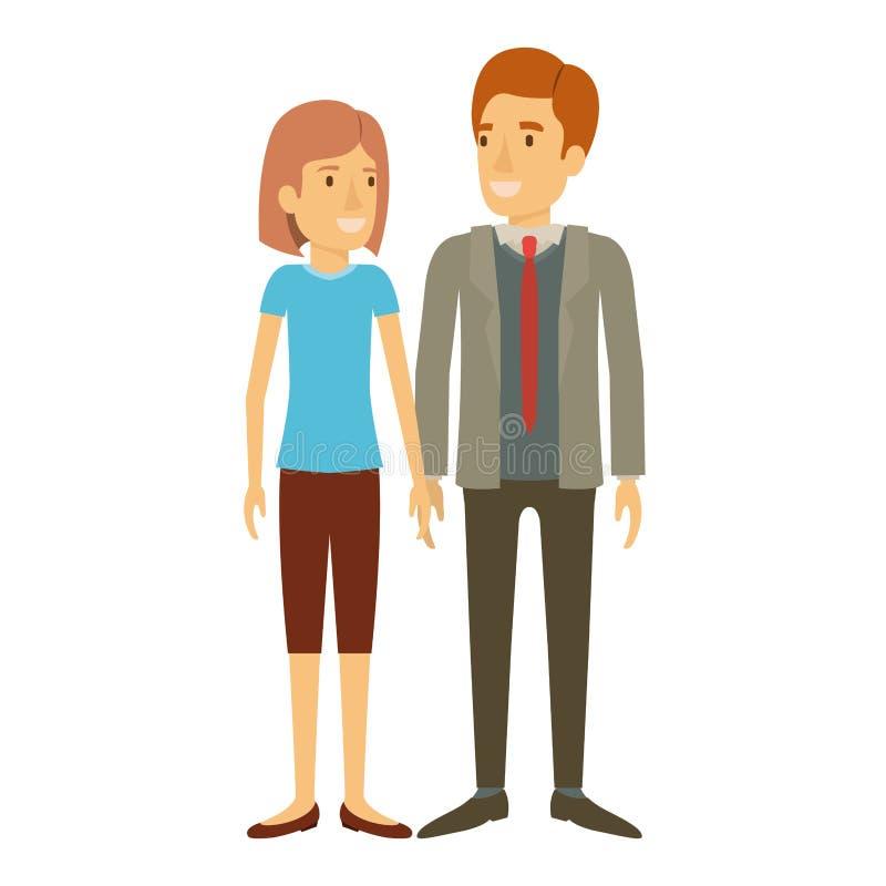 Silhouette colorée de la position de l'homme et de femme et elle avec les cheveux courts et lui dans le costume formel avec le li illustration de vecteur