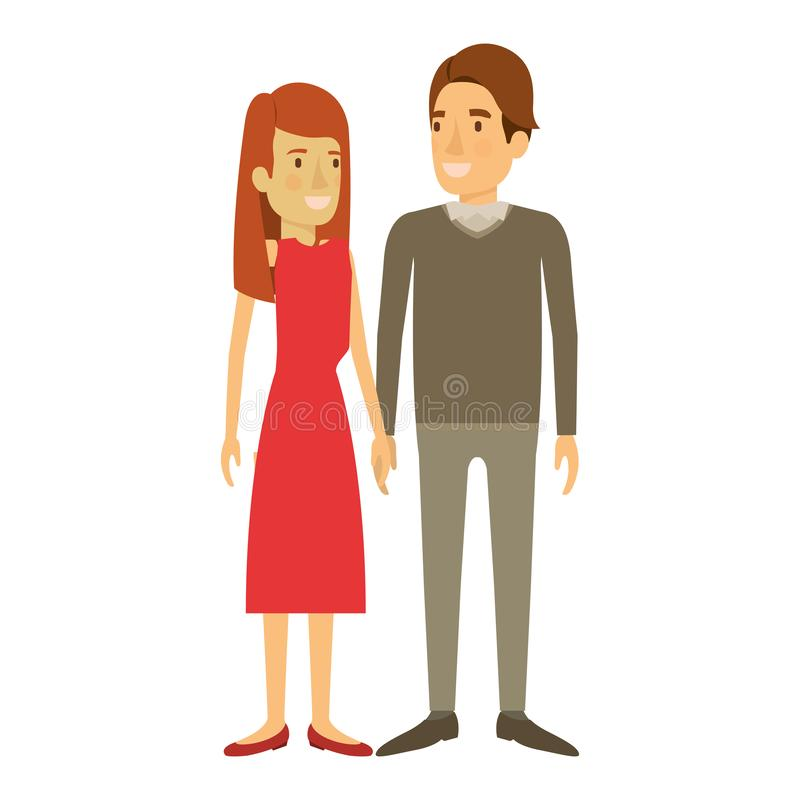 Silhouette colorée de la position de l'homme et de femme et elle avec de longs cheveux droits et lui dans les vêtements et le côt illustration stock
