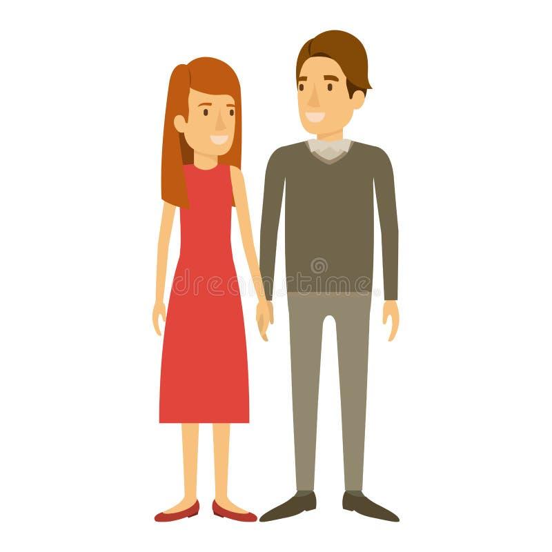 Silhouette colorée de la position de l'homme et de femme et elle avec de longs cheveux droits et lui dans les vêtements et le côt illustration libre de droits