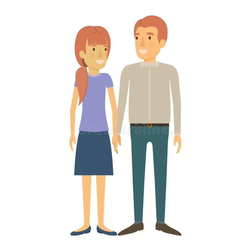 Silhouette colorée de la position de l'homme et de femme et elle avec la queue de cheval et lui dans des vêtements sport et chacu illustration libre de droits