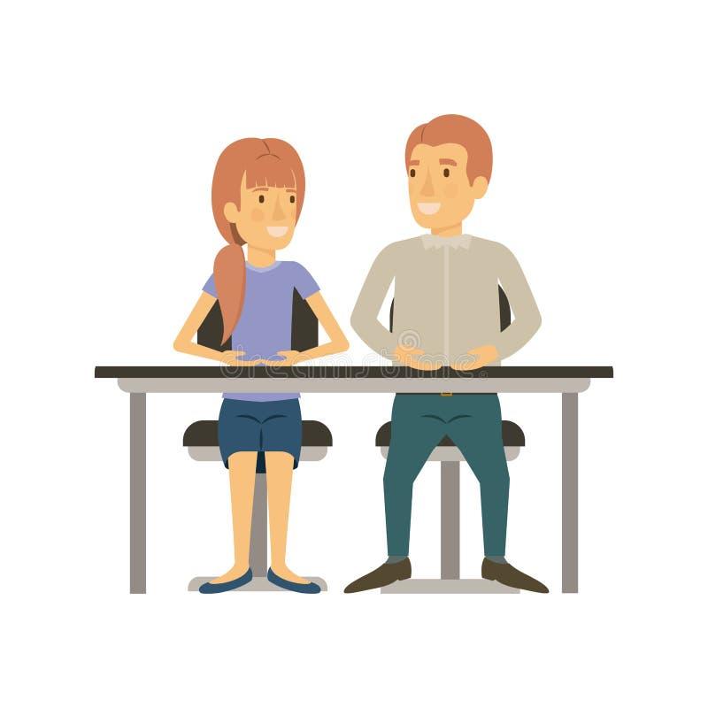 Silhouette colorée de travail d'équipe de la femme et l'homme s'asseyant dans le bureau et elle avec la coiffure de queue de chev illustration de vecteur