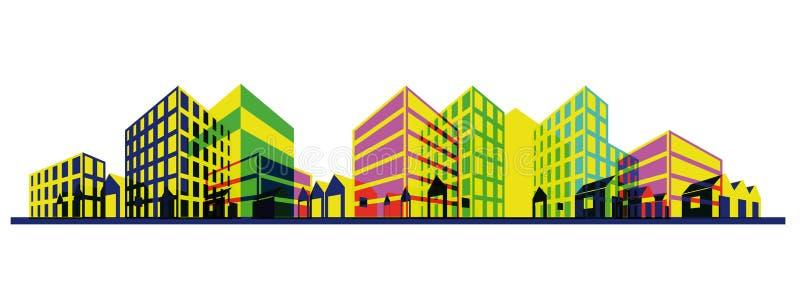 Silhouette colorée de ville. Retrait de point de vue illustration stock