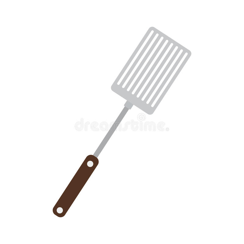 Silhouette color frying spatula with wooden handle. Vector illustration royalty free illustration