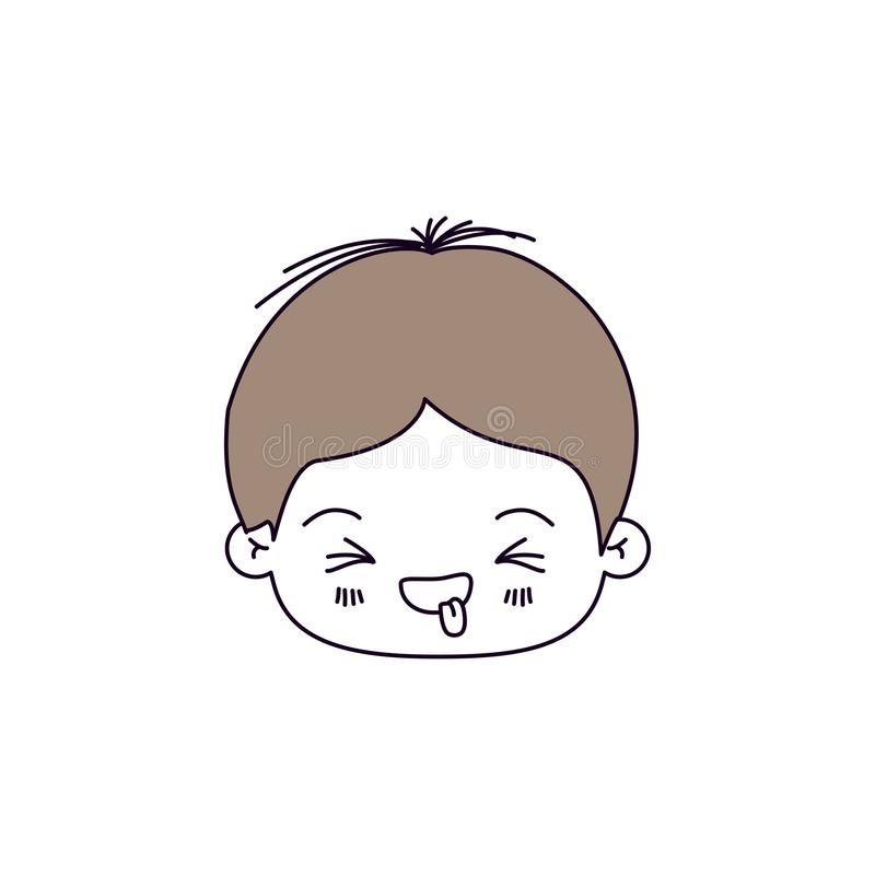 Silhouette color sections of facial expression disgust kawaii little boy with hair light brown. Vector illustration vector illustration