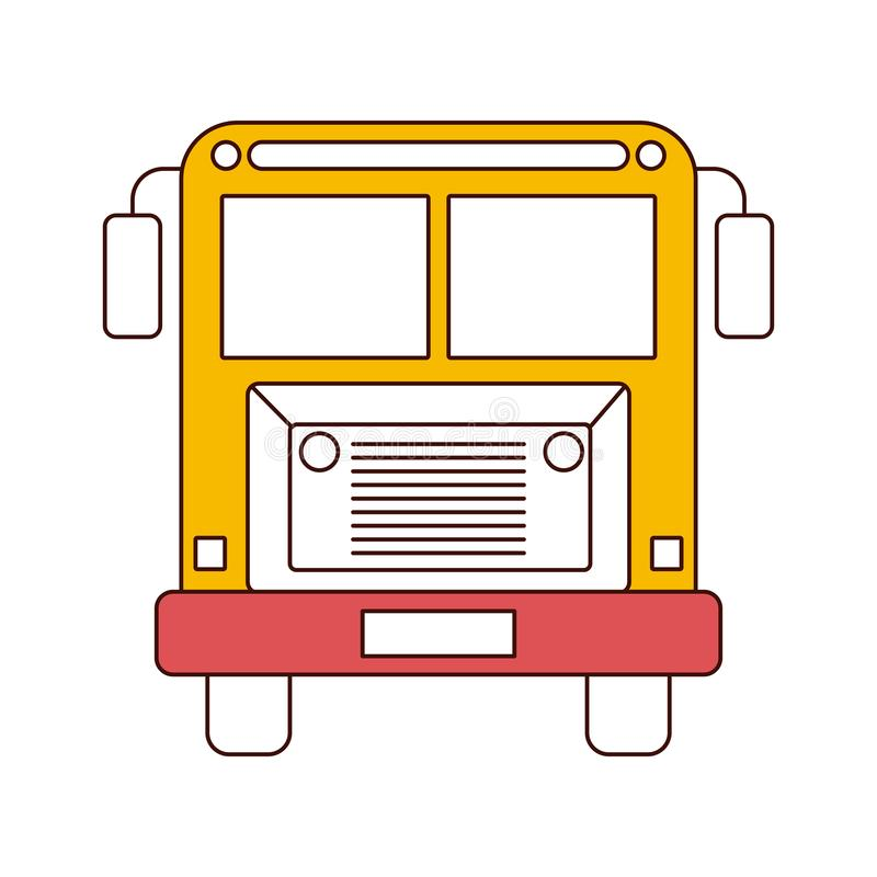 Silhouette color sections of front view school bus with wheels vector illustration
